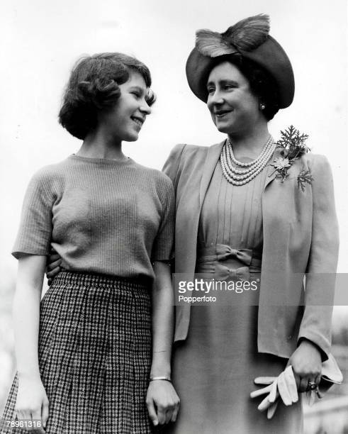 April The Queen Mother as Queen Elizabeth and her daughter Princess Elizabeth at Royal Lodge Windsor Berkshire during World War Two