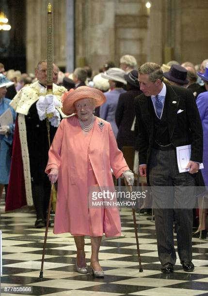 Queen Elizabeth The Queen Mother and her grandson Prince Charles make their way down the aisle of St Paul's Cathedral after the 100th birthday...
