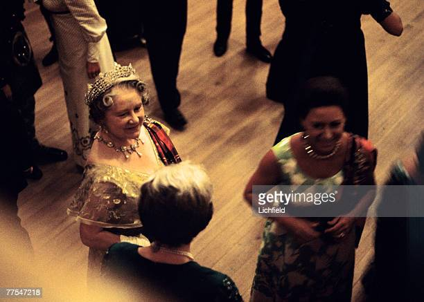 HM Queen Elizabeth The Queen Mother and HRH The Princess Margaret at the Ghillies Ball at Balmoral Castle Scotland during the Royal Family's annual...