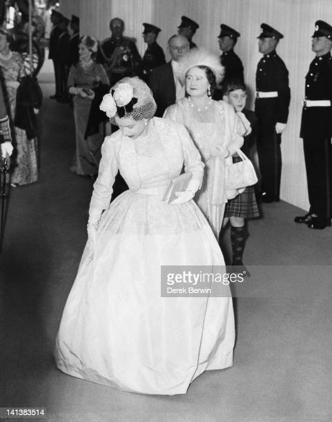 Queen Elizabeth the Queen Mother and Prince Charles arrive at the wedding of Princess Margaret and Antony ArmstrongJones at Westminster Abbey London...