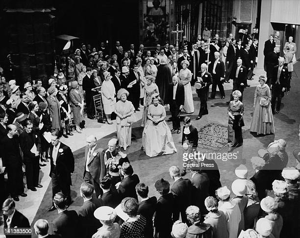 Queen Elizabeth the Queen Mother and Prince Charles at the wedding of Princess Margaret and Antony ArmstrongJones Westminster Abbey London 6th May...
