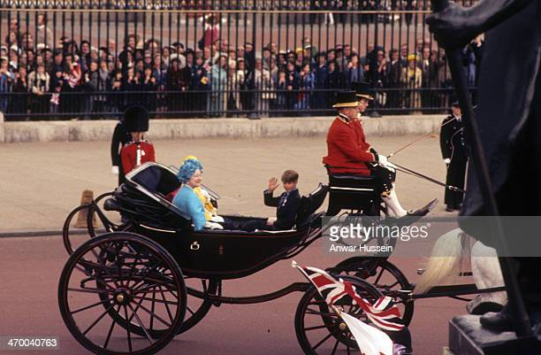 Queen Elizabeth The Queen Mother and Prince Edward ride in an open carriage to attend the Trooping the Colour ceremony on June 11 1977 in London...