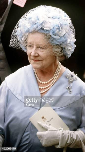 Queen Elizabeth The Queen Mother at Royal Ascot, UK, June 1982.