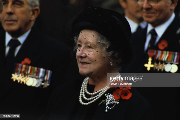 Queen Elizabeth the Queen Mother at the annual Remembrance Service at Westminster Abbey in London on November 91984