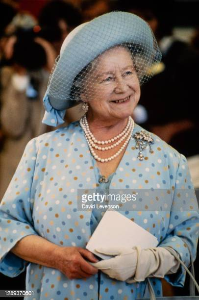 Queen Elizabeth, the Queen Mother at the Maufant Youth Centre on June 1, 1984 during her visit to St. Helier, Jersey in the Channel Islands.