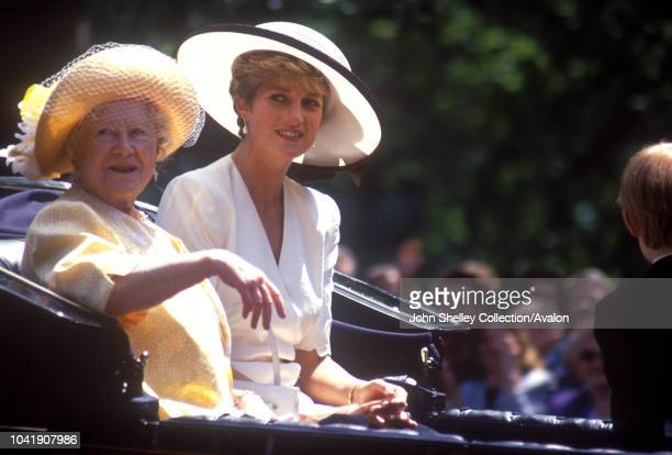 Queen Elizabeth The Queen Mother, Diana, Princess of Wales, Trooping the Colour, 13th June 1992.
