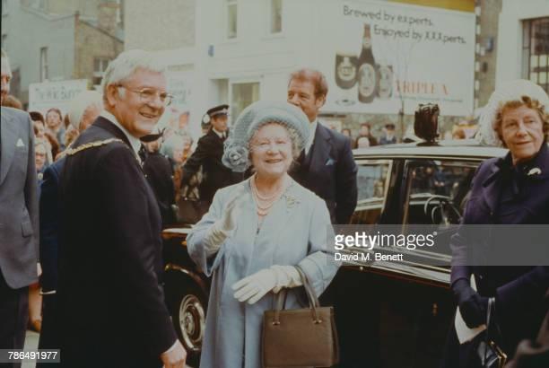 Queen Elizabeth The Queen Mother during an official visit, circa 1982.