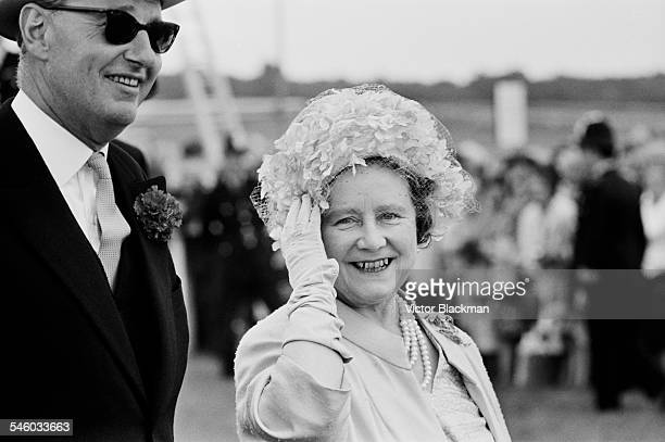 Queen Elizabeth The Queen Mother enjoying the racing on Derby day at Epsom Downs Racecourse June 1967