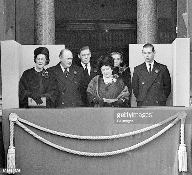 Queen Elizabeth the Queen Mother is pictured in a royal group on a Home Office balcony as below the Queen led the nation's homage to the dead of the...