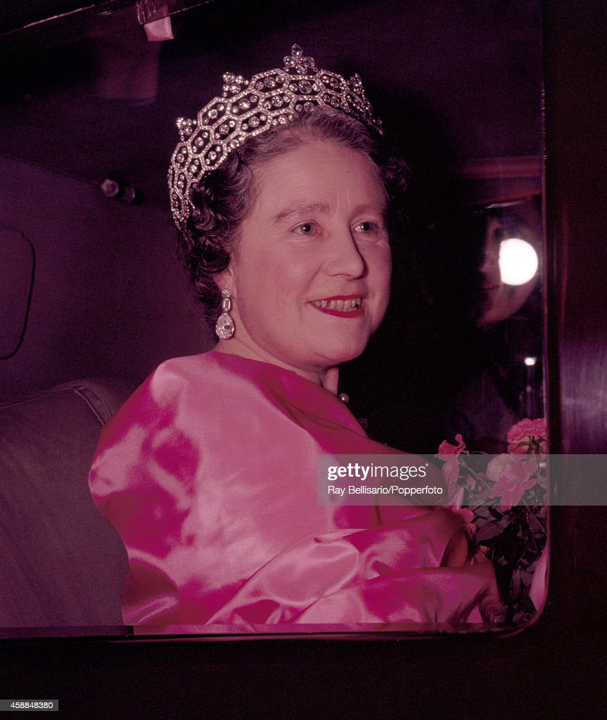 Queen Elizabeth, The Queen Mother, leaving the Victoria League Gala concert at the Royal Festival Hall in London on 25th October 1960.