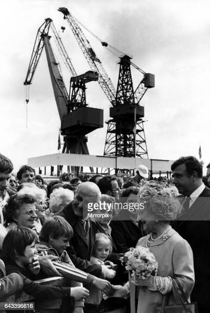 Queen Elizabeth the Queen Mother North East Visits Queen Elizabeth the Queen Mother visits Newcastle 2 June 1981 at Swan Hunter Shipyard in Wallsend...