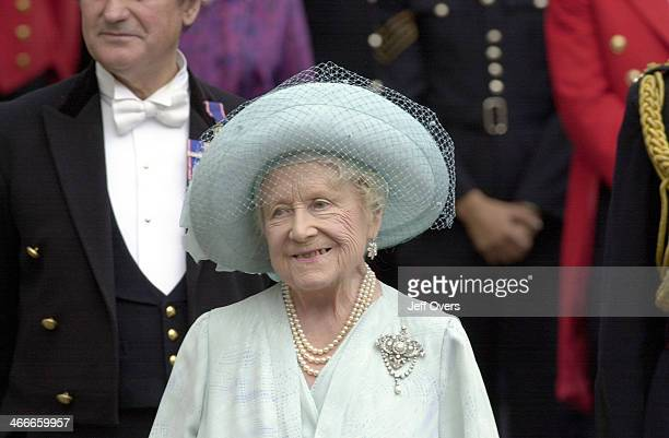 Queen Elizabeth the Queen Mother outside Clarence House to celebrate her 101st birthday