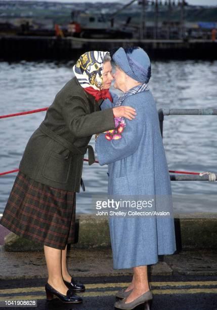Queen Elizabeth The Queen Mother, Queen Elizabeth II, 1990.