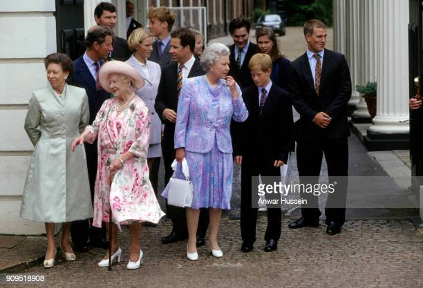 Queen Elizabeth The Queen Mother stands outside Clarence House on her 97th Birthday with members of The Royal Family including Prince Harry Prince...