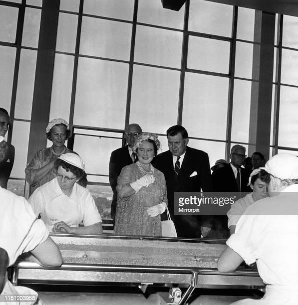 Queen Elizabeth The Queen Mother visits Heinz Factory, Wigan. 26th June 1959.