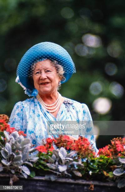 Queen Elizabeth, the Queen Mother, watching the march past for the Queen Mother's 87th Birthday on August 4,1987 outside Clarence House in London.