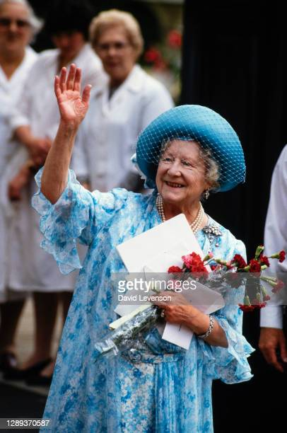 Queen Elizabeth, the Queen Mother, watching the march past for the Queen Mother's 87th Birthday on August 4, 1987 outside Clarence House in London.