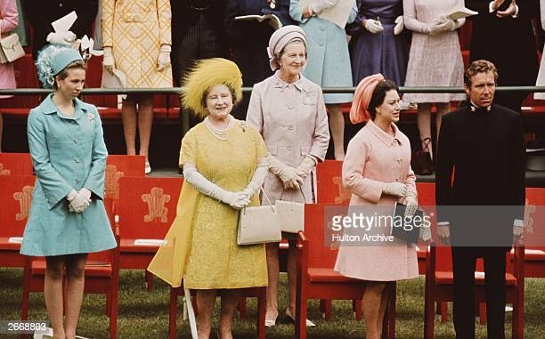 Queen Elizabeth The Queen Mother wearing a brightly coloured dress with Princess Anne Princess Margaret Rose , Countess of Snowdon and Antony, Lord...