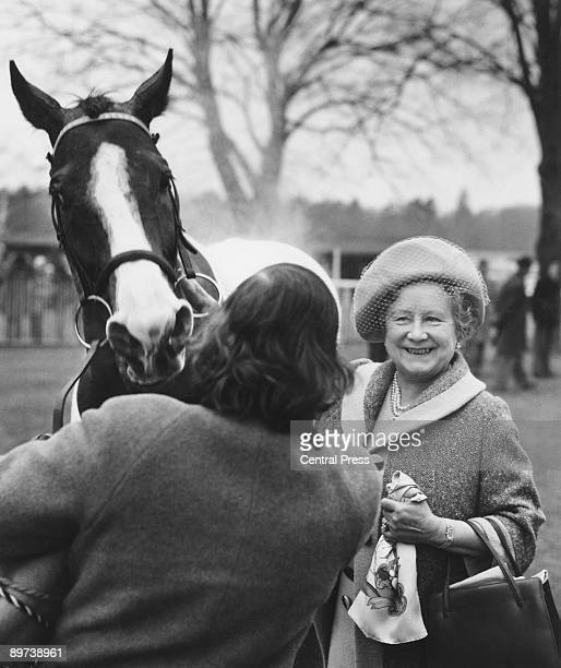 Queen Elizabeth the Queen Mother with her racehorse Sunny Boy at Ascot Racecourse Berkshire 18th February 1976
