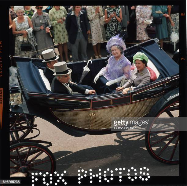 Queen Elizabeth the Queen Mother with Princess Margaret at Royal Ascot