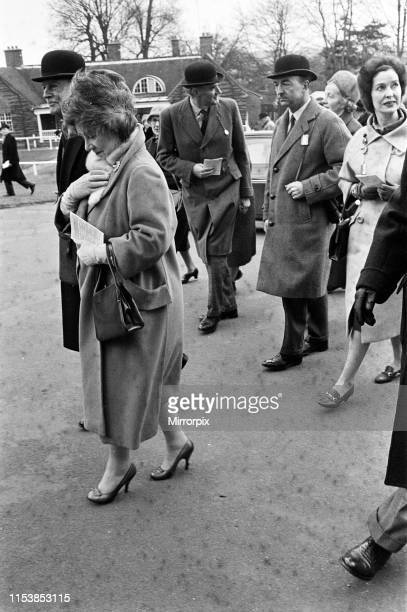 Queen Elizabeth The Queen Mother with Secretary of State for War John Profumo and his wife Valerie Hobson at Sandown Park Racecourse 22nd March 1963