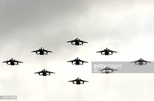 Queen Elizabeth Visits Raf Coltishall In Norwich, Norfolk, To Mark The Station'S 65Th Anniversary. Watches A Flypast Of Raf Jaguars. .
