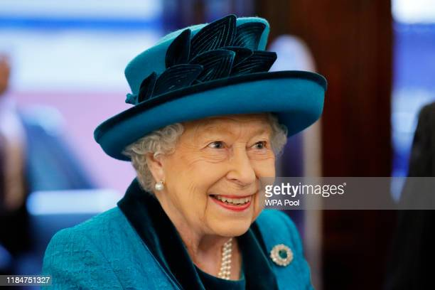 Queen Elizabeth visits the new headquarters of the Royal Philatelic society on November 26 2019 in London England