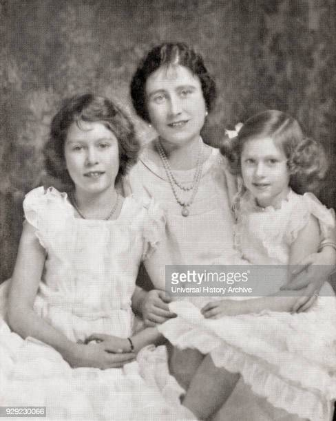 Queen Elizabeth with her daughters Princess Elizabeth, future Queen Elizabeth II, left and Princess Margaret, right, in 1937. Queen Elizabeth, The...