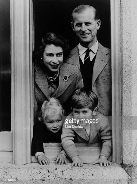 Queen Elizabeth with her husband Prince Philip Duke of Edinburgh and her children Charles and Anne at Balmoral Castle in Scotland