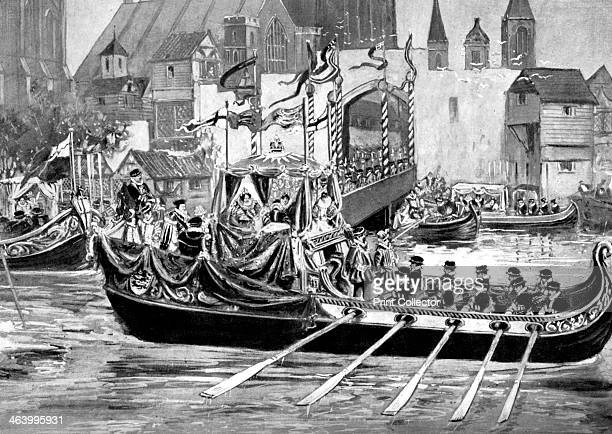 Queen Elizabeth's river coronation procession, London, 1558 . Print published in Parliament Past and Present by Arnold Wright and Philip Smith, .