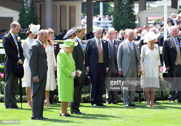 Queen Elizbeth II and the Royal family observe a minutes silence during Royal Ascot 2017 at Ascot Racecourse on June 20, 2017 in Ascot, England.