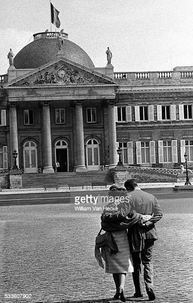 Queen Fabiola and King Baudouin on Childern Day at the Castle of Laken.