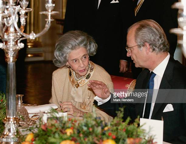 Queen Fabiola and King Carl Gustav from Sweden have lunch before opening of an exhibition celebrating 100 years since Queen Astrid's birth at the...