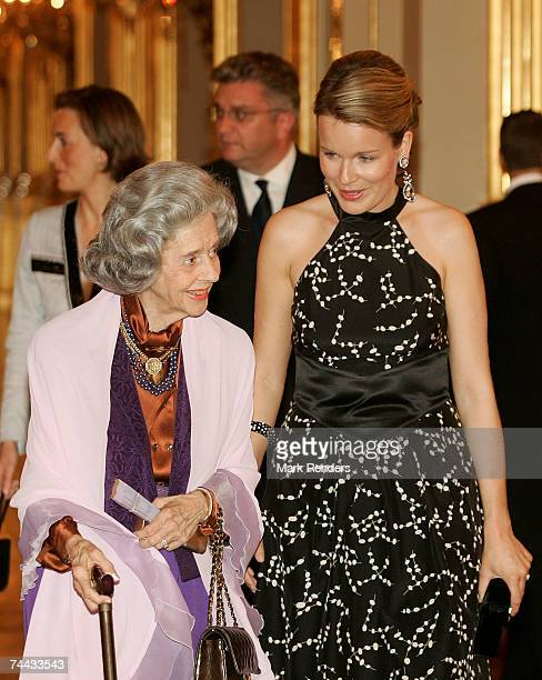 Queen Fabiola and Princess Mathilde of the Belgian Royal family arrive at the European Festivals Association Concert at the Royal Palace on June 7...
