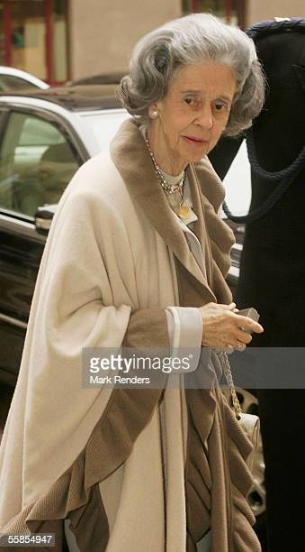 Queen Fabiola leaves the Erasmus Hospital having visited Crown Princess Mathilde who gave birth to a baby boy named Emmanuel Leopold Guillome...