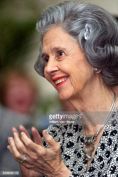 """Queen Fabiola of Belgiuim attends the presentation of the CD-rom """"The Mistery of the lost letters: an adventure of Tintin and Milou"""" to be used for..."""