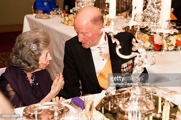 Queen Fabiola of Belgium and King Simeon II of Bulgaria attend the Gala dinner for the wedding of Prince Guillaume of Luxembourg and Stephanie de...