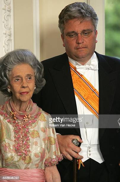 Queen Fabiola of Belgium and Prince Laurent attend the gala dinner at the Castle of Laeken on the occasion of the official visit of Queen Beatrix...