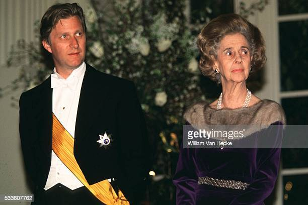 Queen Fabiola of Belgium and Prince Philippe attend the gala dinner on the occasion of the official visit of the Grand Dukes of Luxemburg