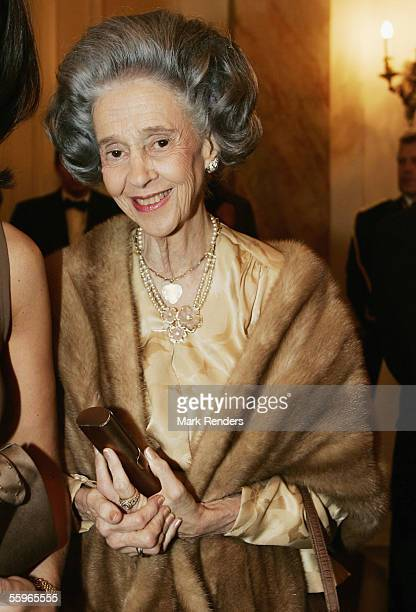 Queen Fabiola of Belgium arrives at a reception at the Cercle Gaulois in Brussels on October 19 2005 in the Belgian capital Brussels The Portuguese...