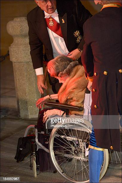 Queen Fabiola of Belgium arrives at the Gala Dinner for the wedding of Prince Guillaume Of Luxembourg and Stephanie de Lannoy at the Hotel De Ville...