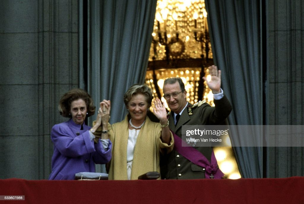Queen Fabiola of Belgium at the coronation of King Albert II.