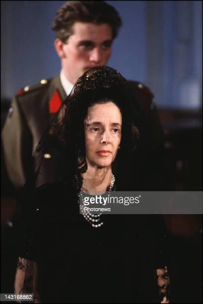 Queen Fabiola of Belgium at the funeral of King Leopold III