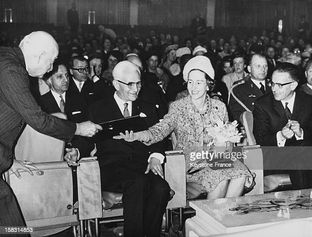 Queen Fabiola Of Belgium at the inaugural meeting of the global conference of schools for parents and educators in the congress hall of Brussels...