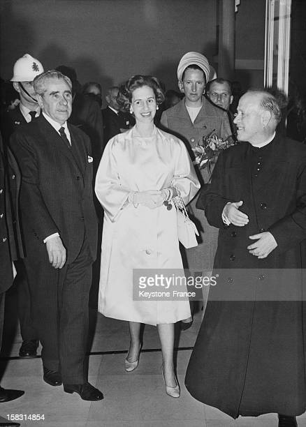 Queen Fabiola Of Belgium at the opening of the Spanish and Flemish exhibition in the royal library in Brussels Belgium