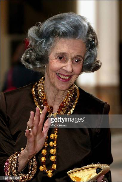Queen Fabiola of Belgium attends the concert and the reception at the Palais des Beaux Arts of Brussels for the wedding of Prince Laurent and Claire...