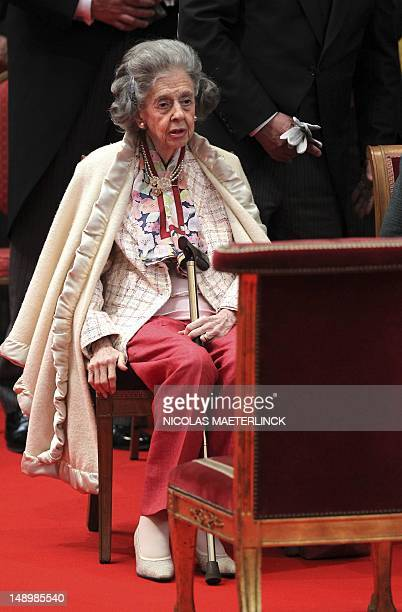 Queen Fabiola of Belgium attends the Te Deum mass on Belgian National Day at the Saint Michael and St Gudula Cathedral in Brusselson July 21 2012 AFP...