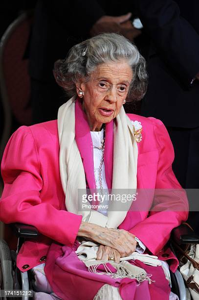 Queen Fabiola of Belgium during the Abdication Of King Albert II Of Belgium Inauguration Of King Philippe at the Cathedral of St Michael and St...