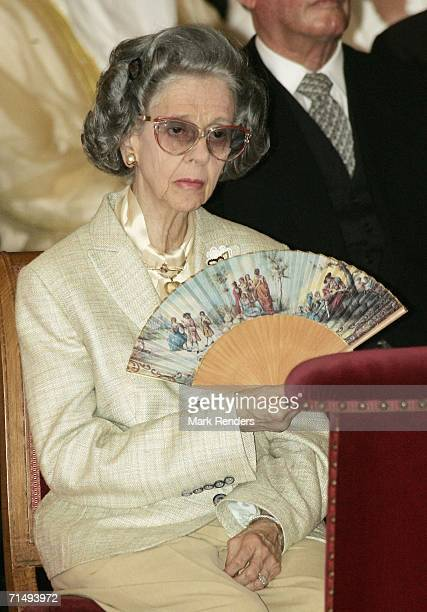 Queen Fabiola of Belgium in the Saint Michael and Saint Gudula Cathedral where she attended the Te Deum during National Day celebrations on July 21...