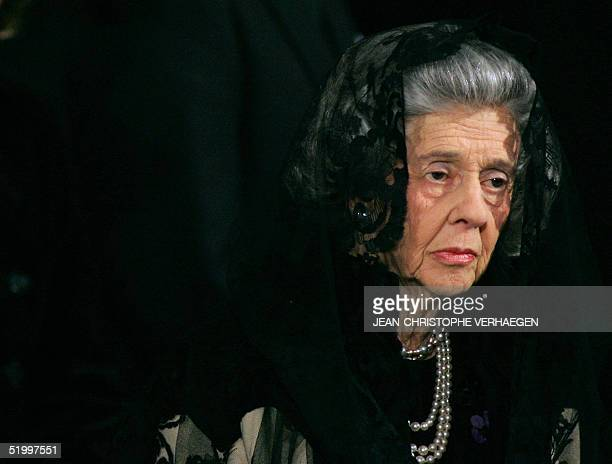 Queen Fabiola of Belgium listens to a sermon during the funeral of Luxembourg Grand Duchess JosephineCharlotte at the Notre Dame Cathedral in...